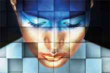 Face-with-Squares-Fotokunst-vrouw