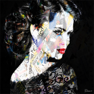 Woman-on-black-background-Fotokunst-vrouw