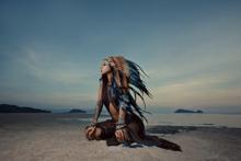 Indian-Blue-Fotokunst-vrouw