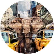 Elephant-in-New-York-100-x-100-cm-|-Fotokunst-rond